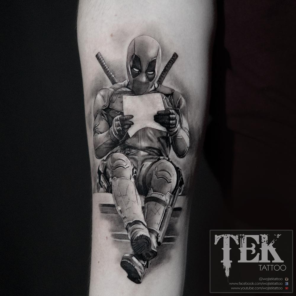 Forearm Deadpool tattoo