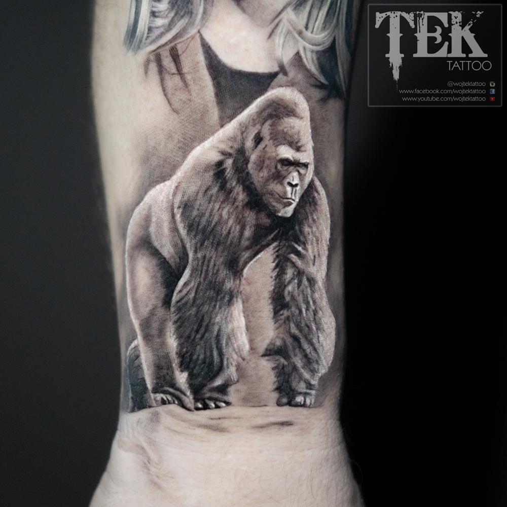 Little wrist silverback tattoo