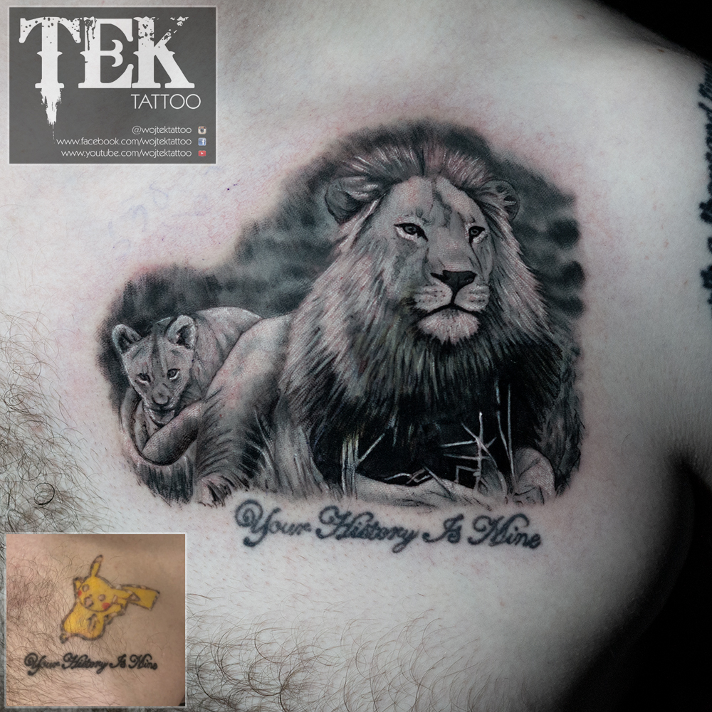 Father and son design, cover up tattoo