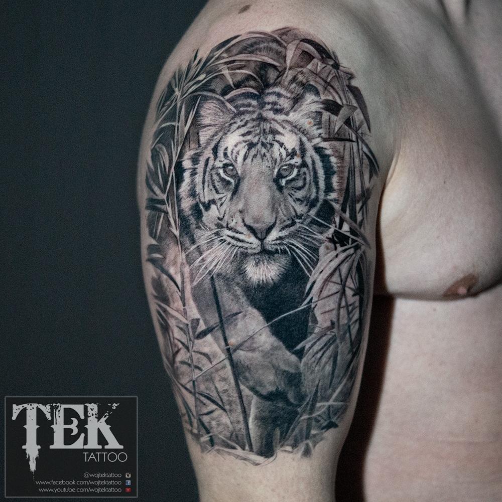Tiger half-sleeve tattoo